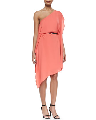 One-Shoulder Flowy Dress W/ Belt, Melon
