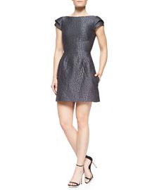 Croc-Print Dress W/ Cap Sleeves