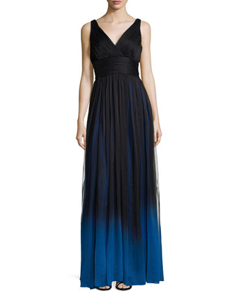 Sleeveless V-Neck Ombre Gown
