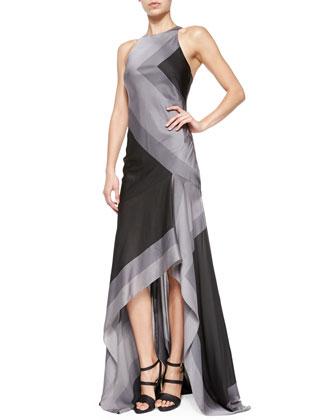 Sleeveless Scarf-Print High-Low Gown