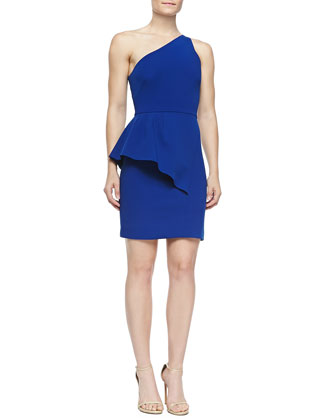 One-Shoulder Dress W/ Asymmetric Peplum