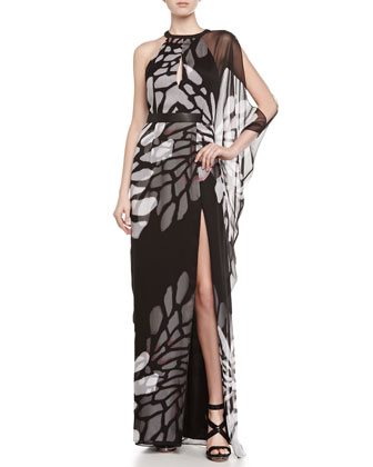 Khyle One-Shoulder Gown with Slit
