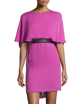 Flutter-Top Belted Cocktail Dress