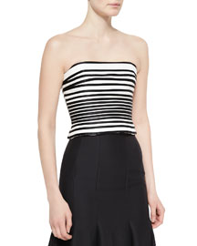 Striped Strapless Crop Top