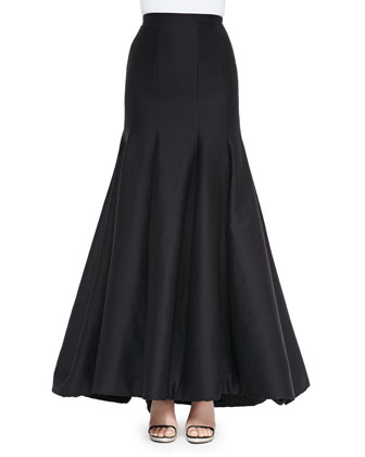 Long Pleated Trumpet Skirt, Black