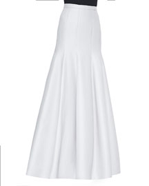 Long Pleated Trumpet Skirt, Vapor