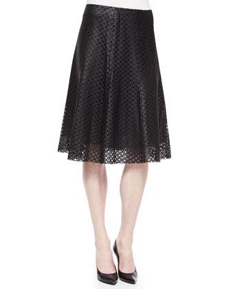 Bhima Laser-Cut Leather Skirt