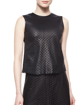 Mowita Laser-Cut Leather Top