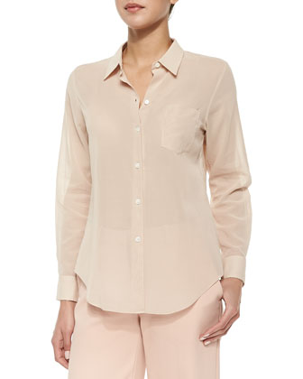 Perfect Long-Sleeve Voile Blouse