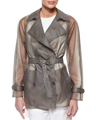 Belted Short Slicker Trenchcoat