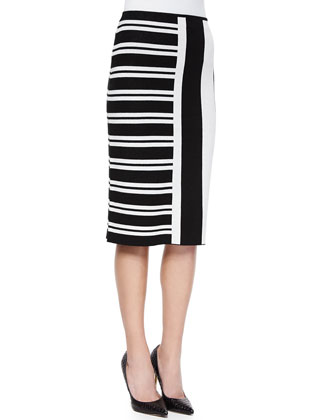 Efersten Mixed-Stripe Knit Skirt
