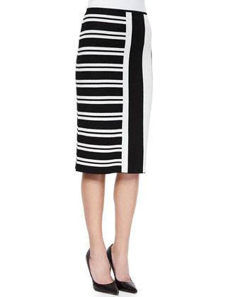 Efersten Mixed-Stripe Knit Skirt