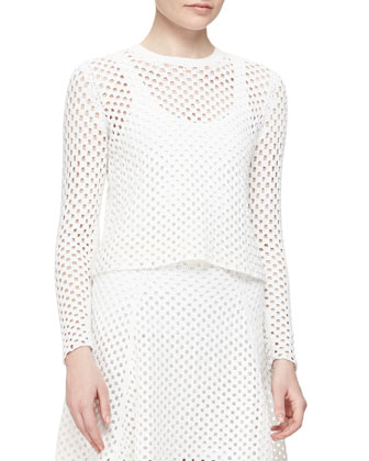 Krezia Netted Long-Sleeve Top