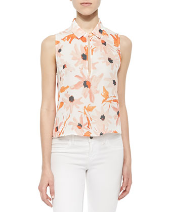 Cropped Floral-Print Blouse