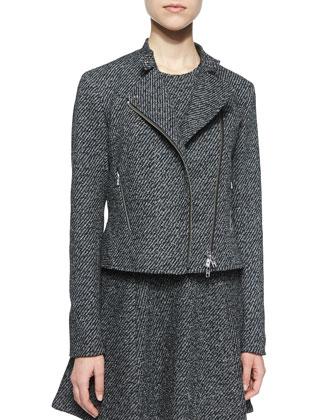 Kinde Asymmetric-Zip Twill Jacket, Black/White