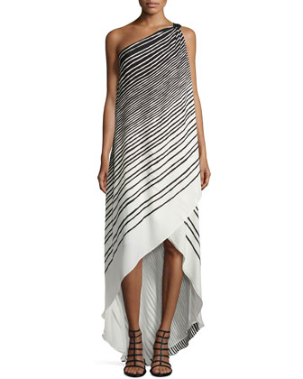 Striped One-Shoulder High-Low Gown