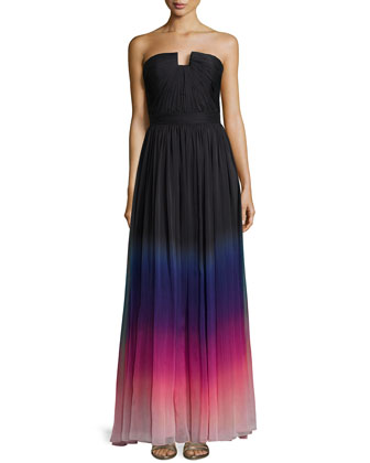 Strapless Ombre Gown with Ruching