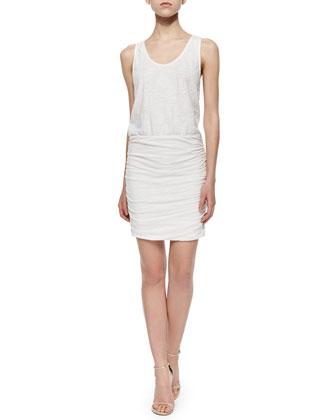 Bond Ruched-Skirt Blouson Dress, White