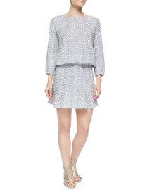 Arryn B Long-Sleeve Printed Dress