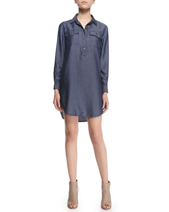 Brea Woven Chambray Shirtdress