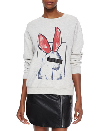 Classic Sweatshirt with Bunny Graphic