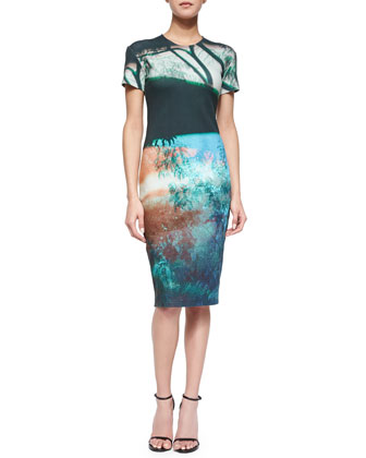 Abstract Tree-Print Sheath Dress