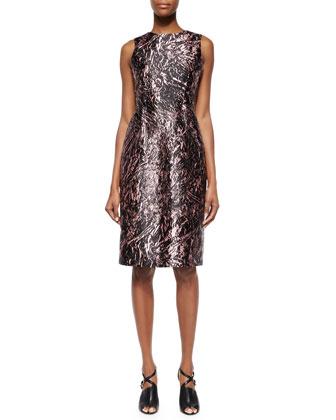Marbled Open-Back Satin Dress