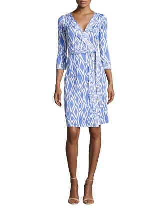 New Julian Ikat-Print Wrap Dress