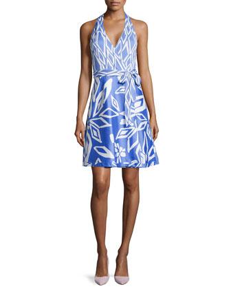 Amelia Halter Wrap Dress in Ikat Print