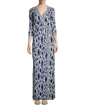 New Julian Ikat-Print Maxi Wrap Dress