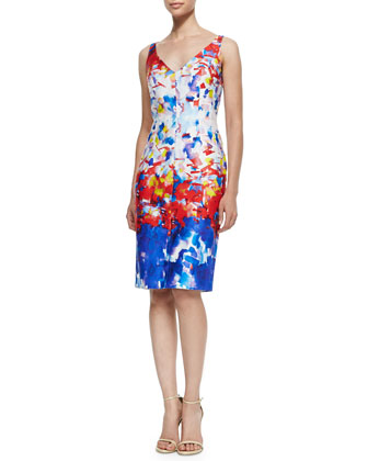 Sleeveless Watercolor-Print Sheath Dress