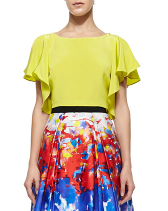 Elodie Sandwashed Cropped Top, Citrus