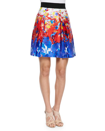 Katie Watercolor-Print Short Skirt