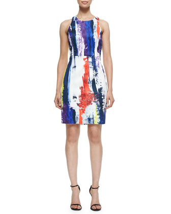 Graffiti-Print Racerback Sheath Dress