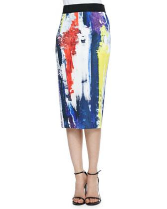 Graffiti-Print Pencil Skirt
