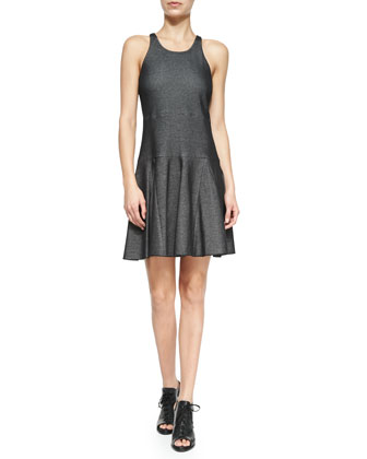 Enigma Cotton-Blend Fit-and-Flare Dress, Black