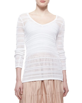 Cassie Pattern-Stripe V-Neck Top