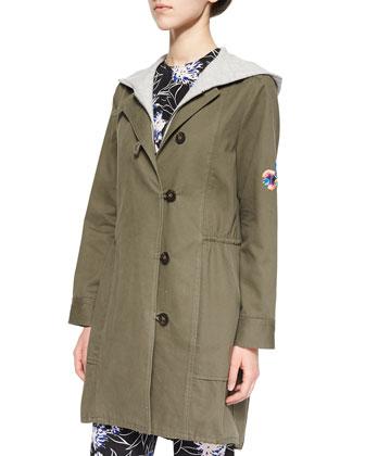 Heavy Twill/Knit Hooded Coat