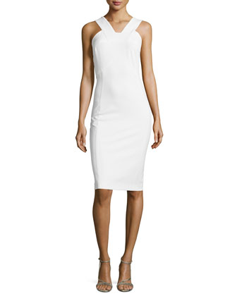 Sleeveless V-Neck Scuba Sheath Dress