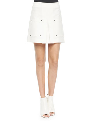 Patch-Pocket A-Line Skirt, White
