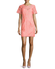 Floral Embroidered Lace Shift Dress, Neon Pink/Nude
