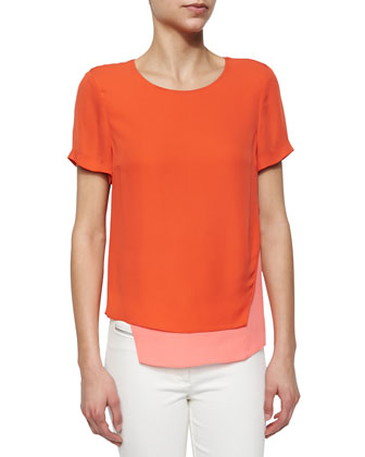 Short-Sleeve Layered Silk Tee, Coral/Neon Pink