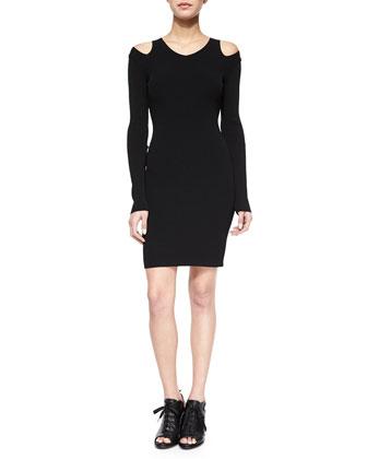 Ashlyn Shoulder-Cutout Fitted Dress