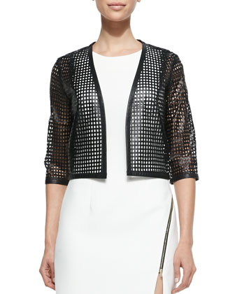 Perforated Leather Cropped Bolero, Black