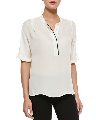 Contrast-Trim Half-Sleeve Blouse, Chai/Black