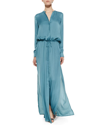 Long-Sleeve Drawstring Maxi Dress