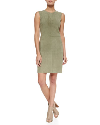Sleeveless Suede Fitted Dress