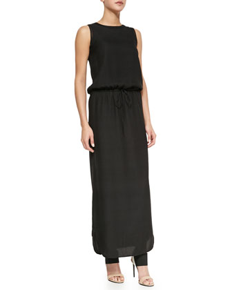 Sleeveless Drawstring Jacquard Maxi Dress