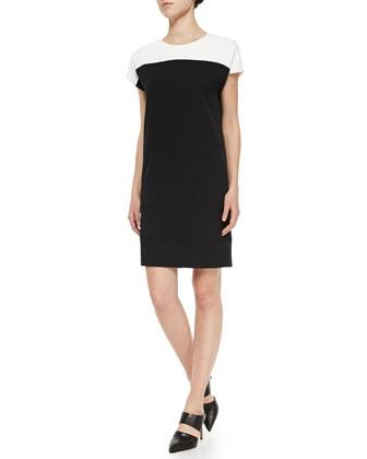 Cap-Sleeve Colorblock Knit Dress