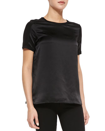 Short-Sleeve Satin Top, Black
